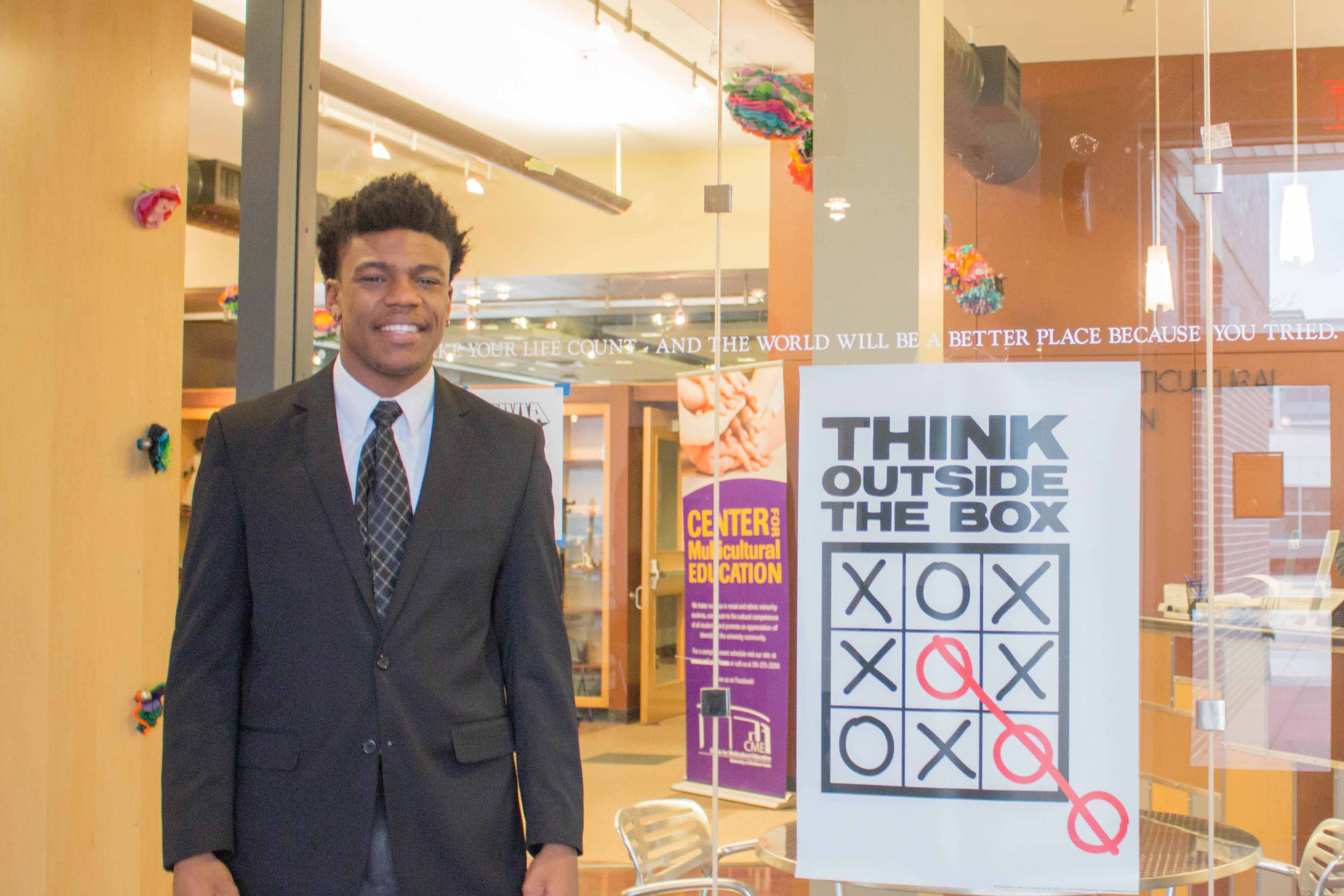 northern iowan forming cultural bridge darian jones seen here in front of the center for multicultural education in maucker union