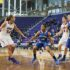 Stephanie Davison dribbles around to make a play against Indiana State. Davison finished the season with 256 points.