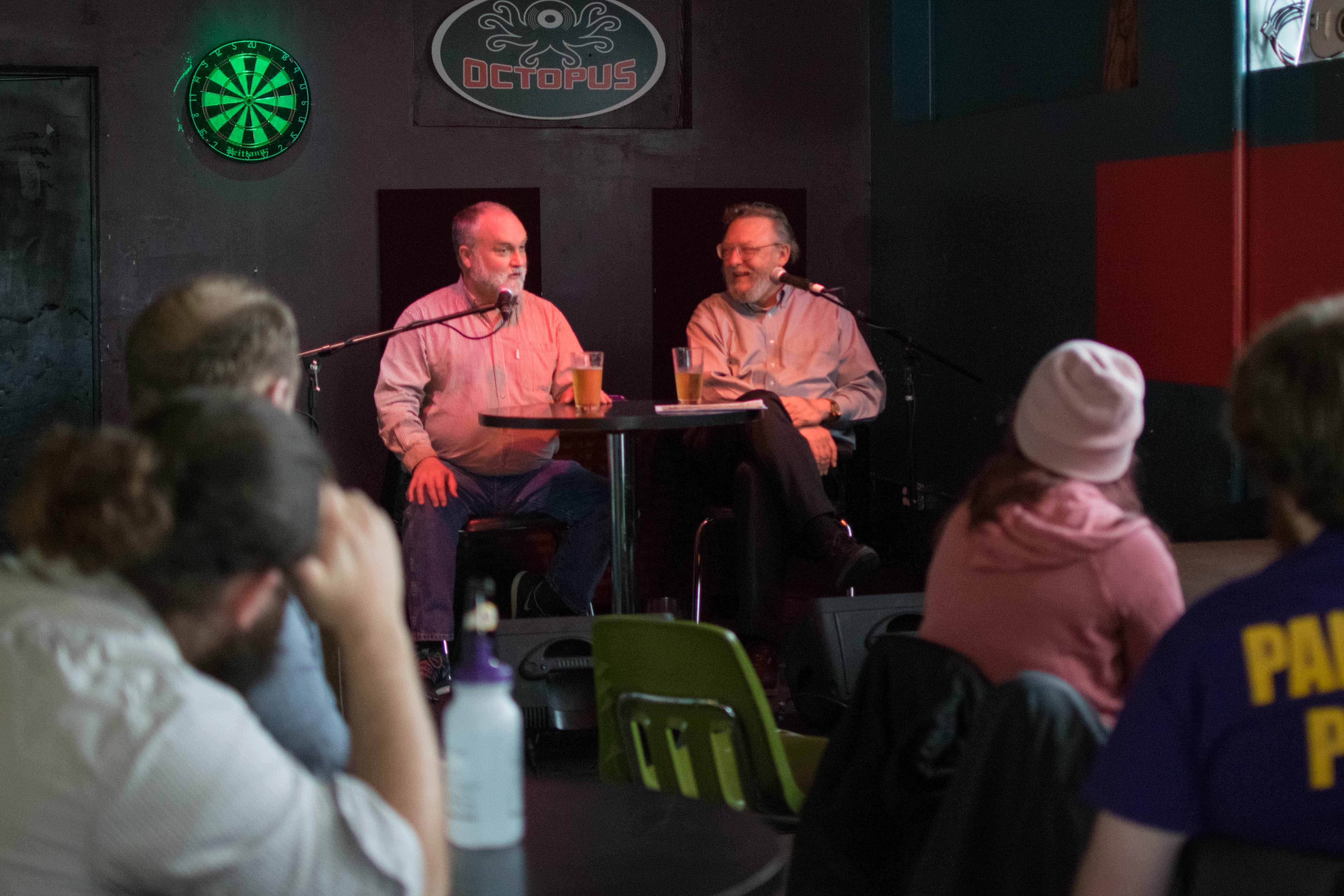 Professors Steve O'Kane (Biology) and Jerry Soneson (Philosophy and Religions) discussed the compatibility of science and religion for the most recent