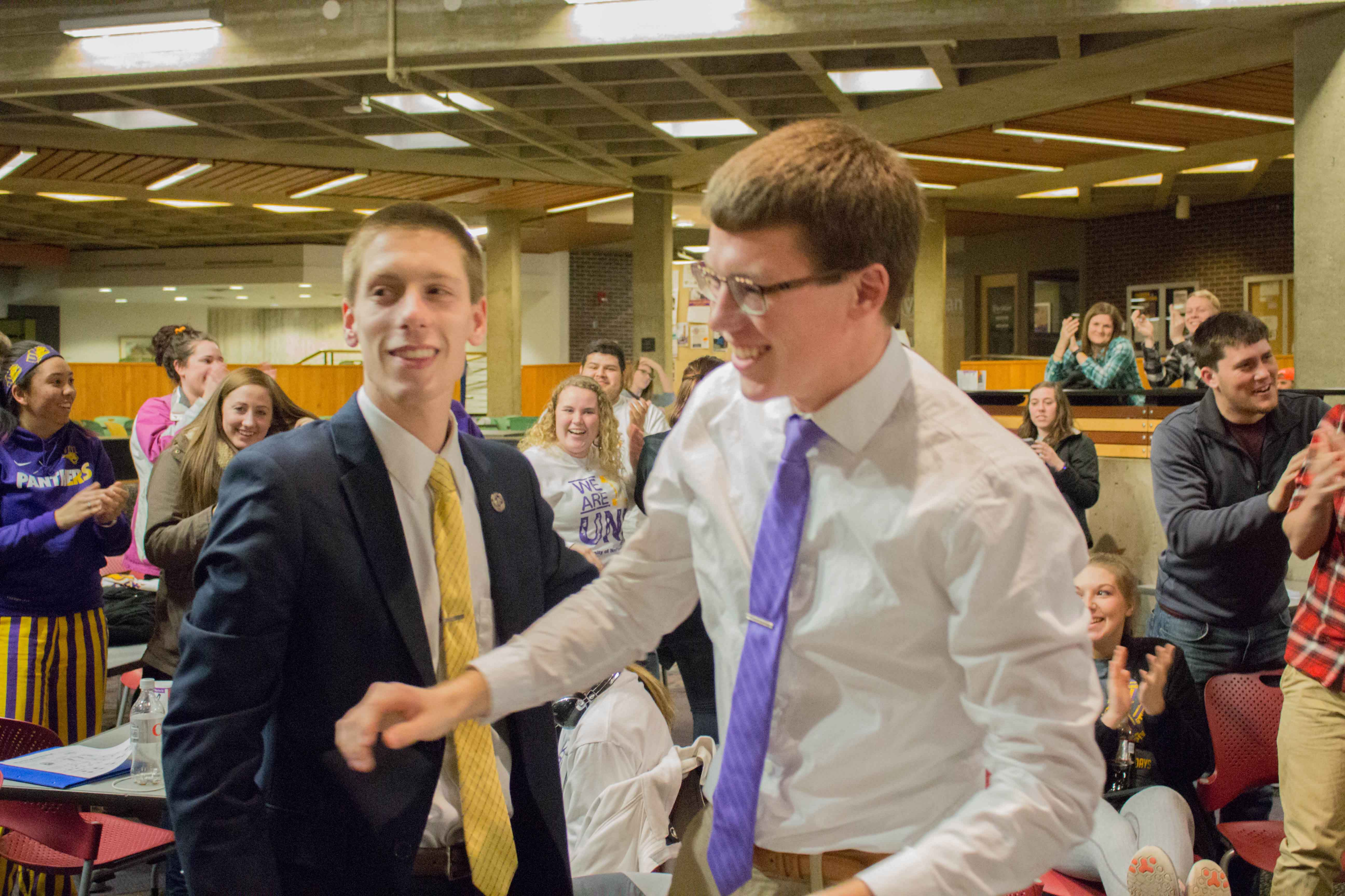 Hunter Flesch and Avery Johnson celebrate their NISG presidential election win. Sanctions had been considered for each campaign.