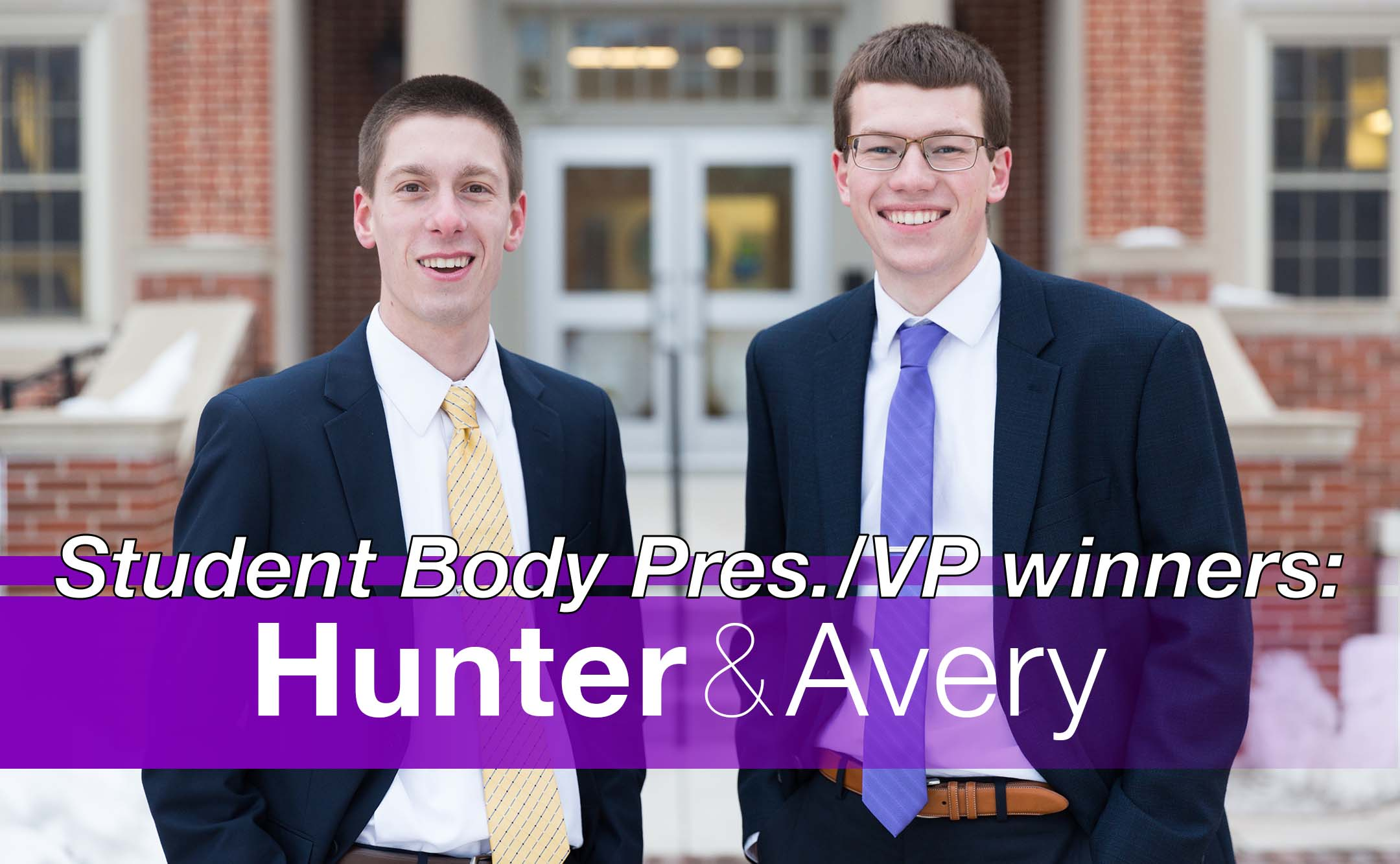 Hunter Flesch (left) and Avery Johnson (right) won this year's student elections to become the new NISG president and vice president, respectively.