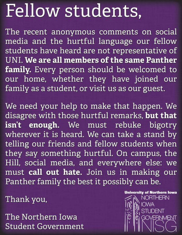 Previous instance in which Northern Iowa Student Government condemned  hurtful language on campus. Columnist Friel argues that this precedent be extended to 2016 campaign rhetoric.