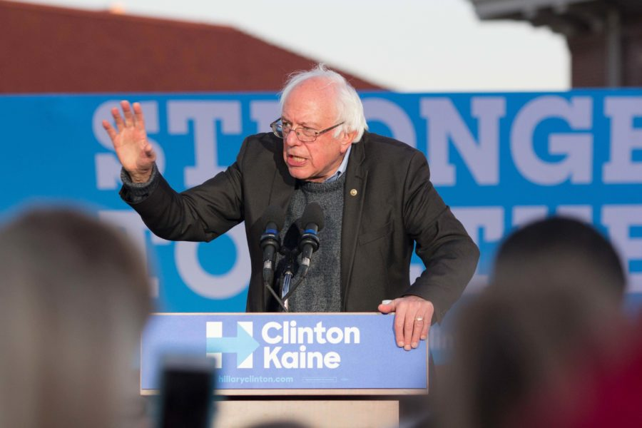 US Sen. Bernie Sanders stumped on the Maucker Union plaza for Hillary Clinton on Friday, Nov. 4. Sanders was accompanied by local Iowa Democratic candidates.
