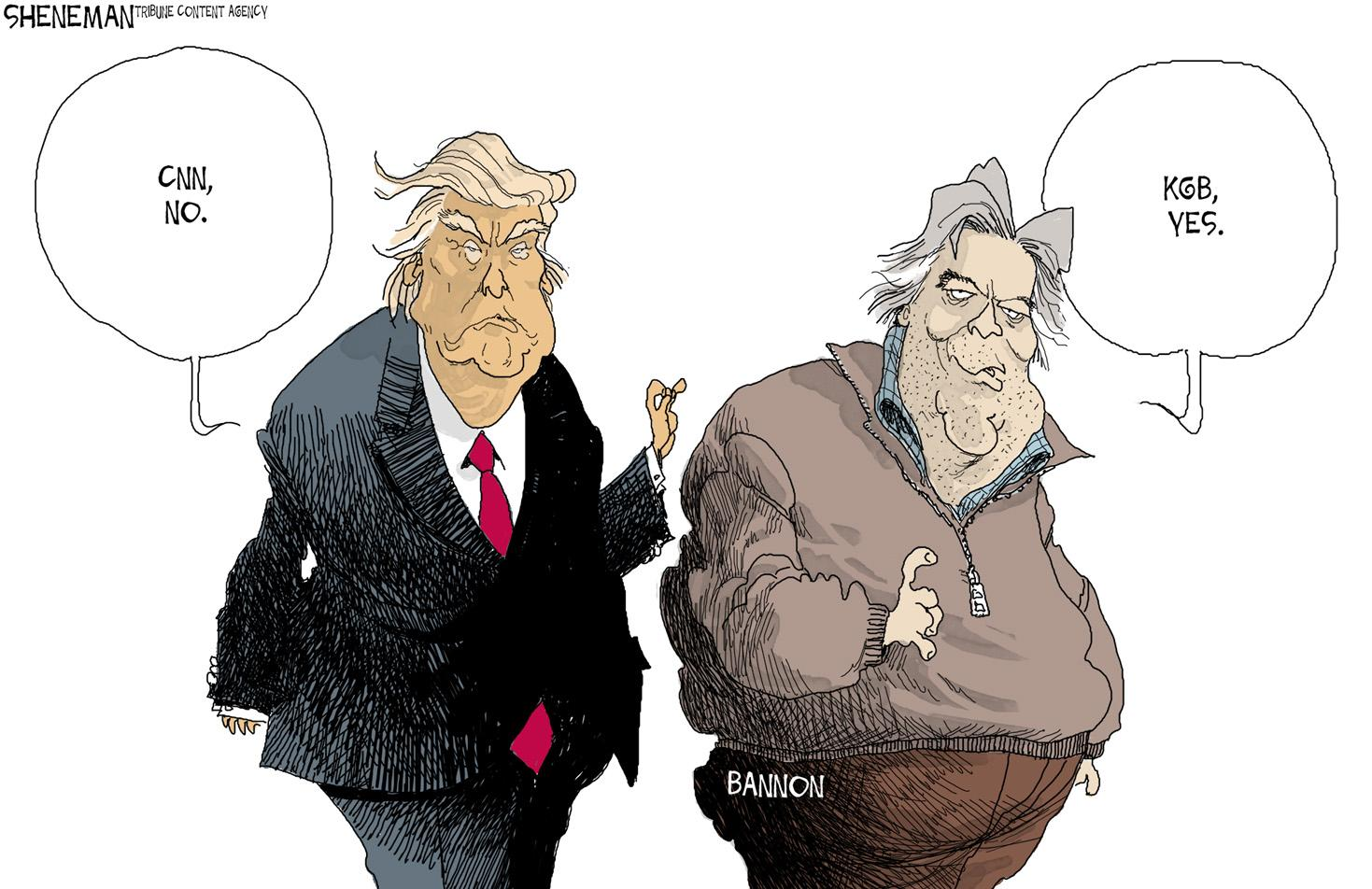 This political cartoon features President Trump (left) and Trump's Chief of Strategist Steve Bannon  (right). Trump has called CNN