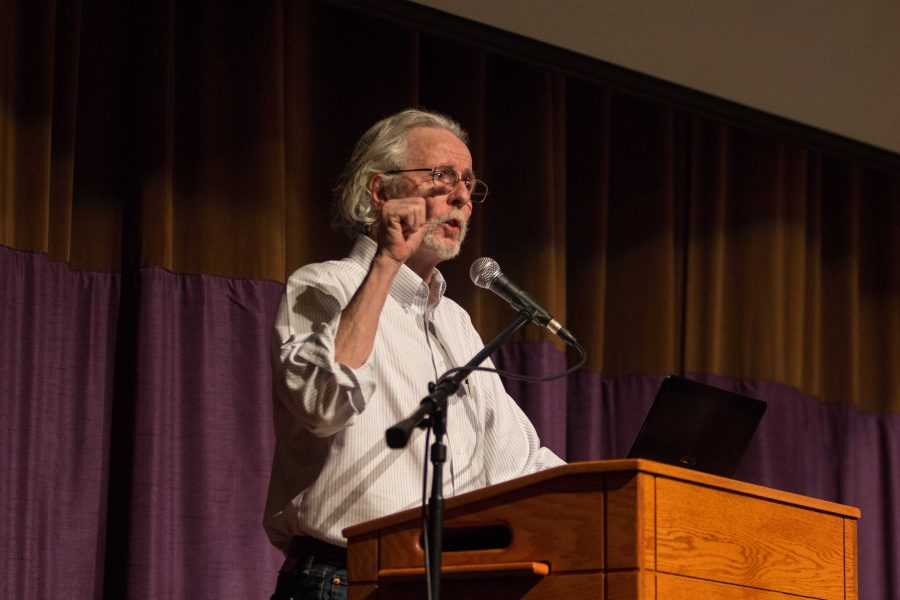 Joe Gorton, president of the United Faculty, speaks at a faculty meeting on Jan. 27. Gorton is adamant on faculty keeping their collective bargaining rights.