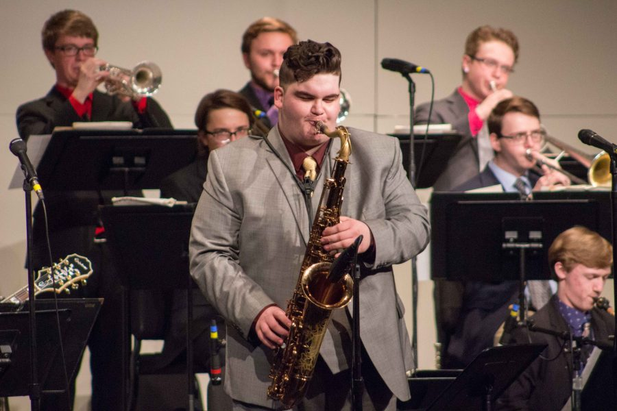 Abram+Miller%2C+sophomore+composition-theory+major%2C+jams+away+on+his+saxophone.+Miller+is+a+part+of+UNI+Jazz+Panthers.
