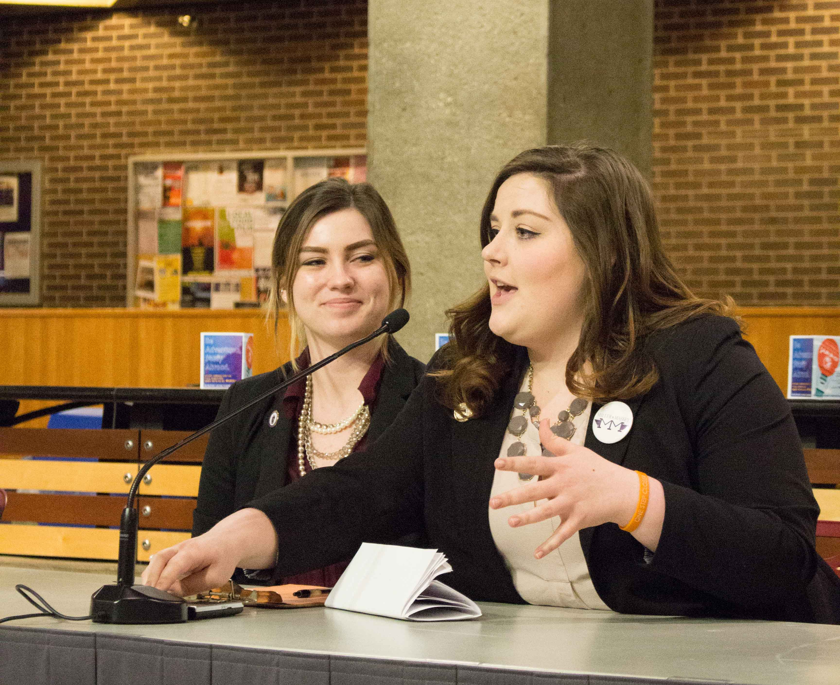 Vice Presidential candidate Danielle Massey (left) and presidential candidate Maggie Miller (right). Evans favors Miller and Massey's platform.
