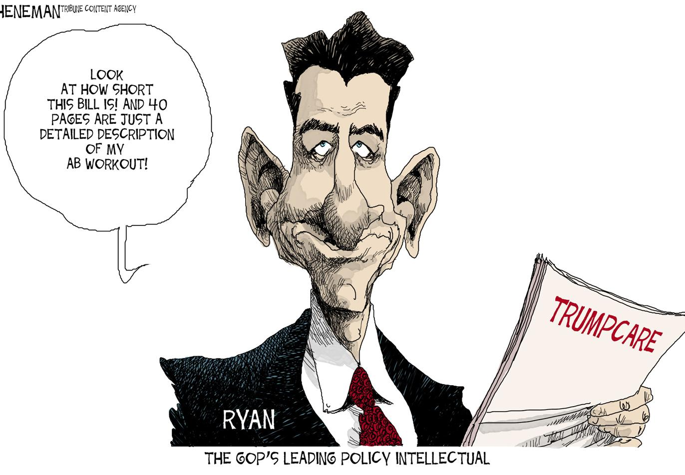 The cartoon depicts Speaker of the House Paul Ryan. According to a March 23 Quinnipiac poll, 17 percent of Americans approved of the American Health Care Act, and 56 percent disapproved.