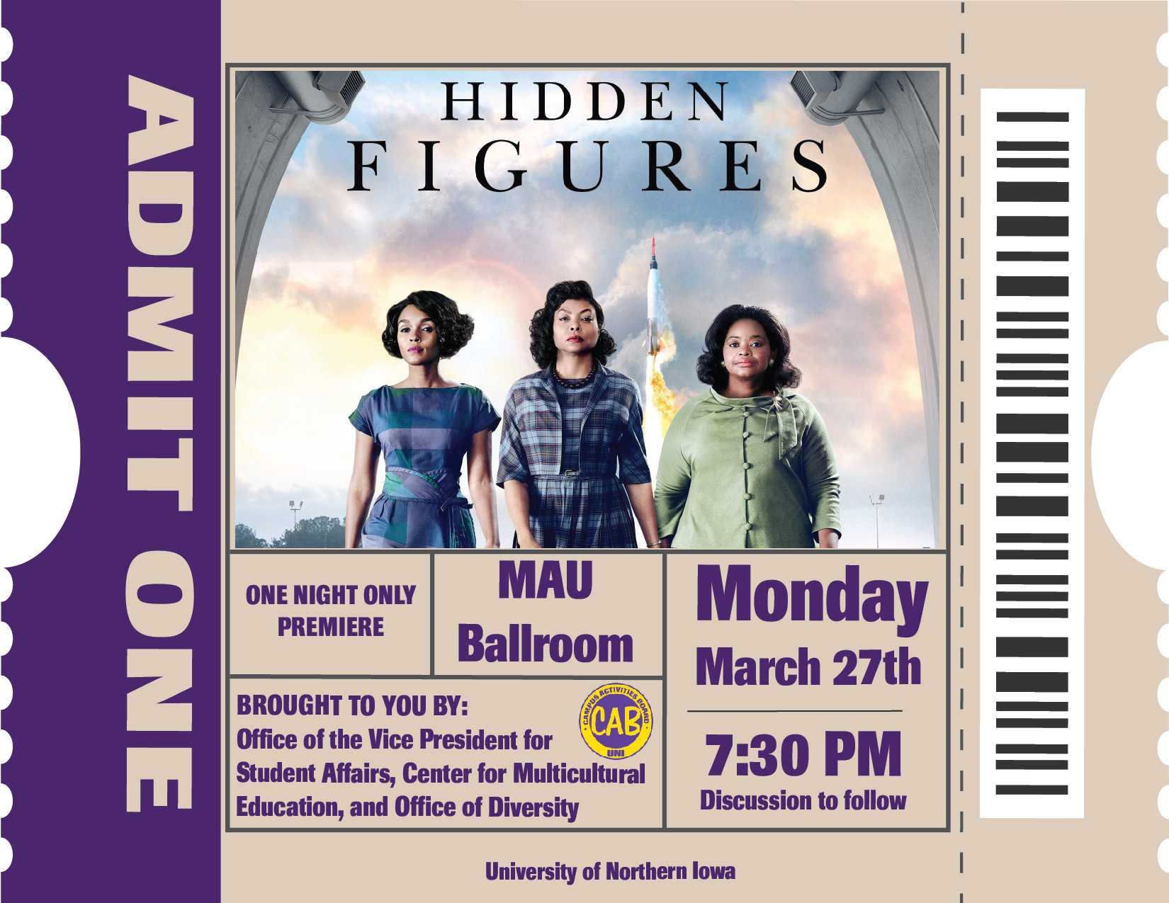 A collaboration between UNI CAB and three other campus offices brings the Oscar-nominated film 'Hidden Figures' to the Maucker Union tonight.