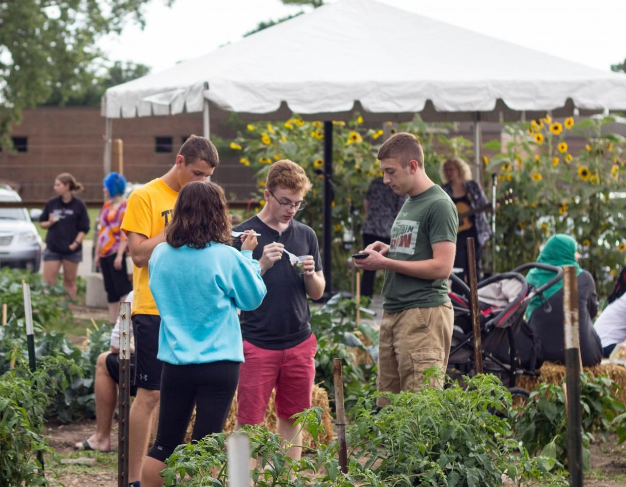 Students gathered at Panther Plots last Thursday for the fifth annual Harvest Festival, where they feasted on vegetables from the garden and enjoyed live music.