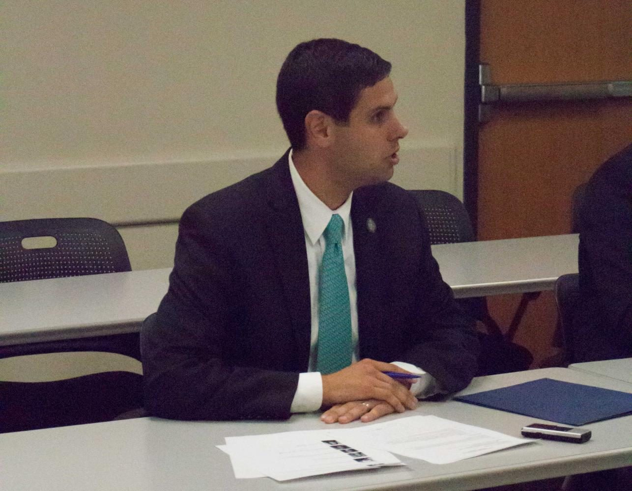 Democratic gubernatorial candidate Nate Boulton discussed education at UNI on Monday.