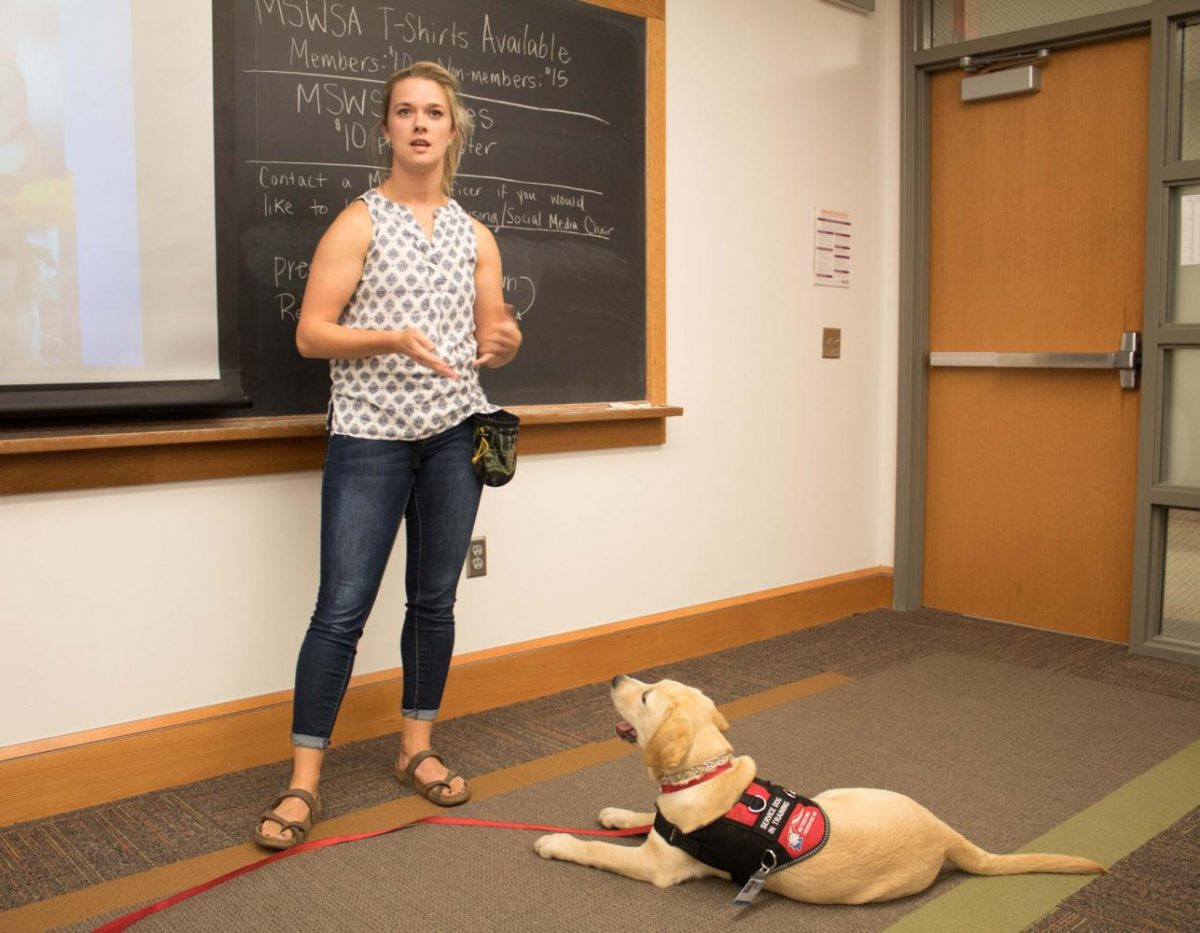 Retrieving Freedom representatives came to Sabin Hall Thursday, Sept. 21, to inform students on the role of service animals in therapy.