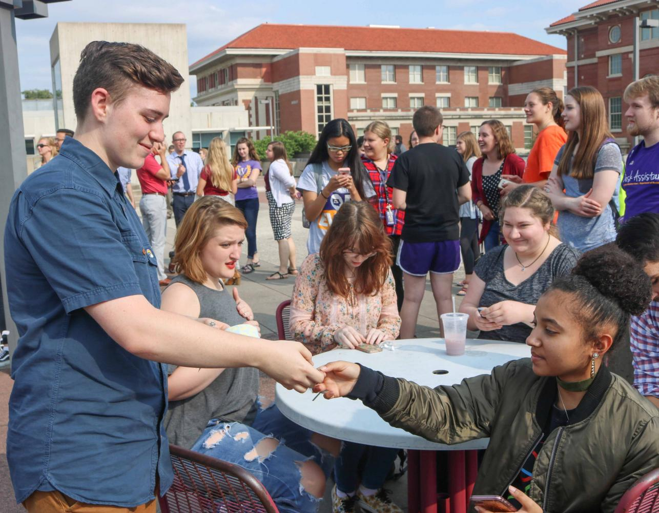 Students gathered on top of Maucker Union in response to the events at Charlottesville.