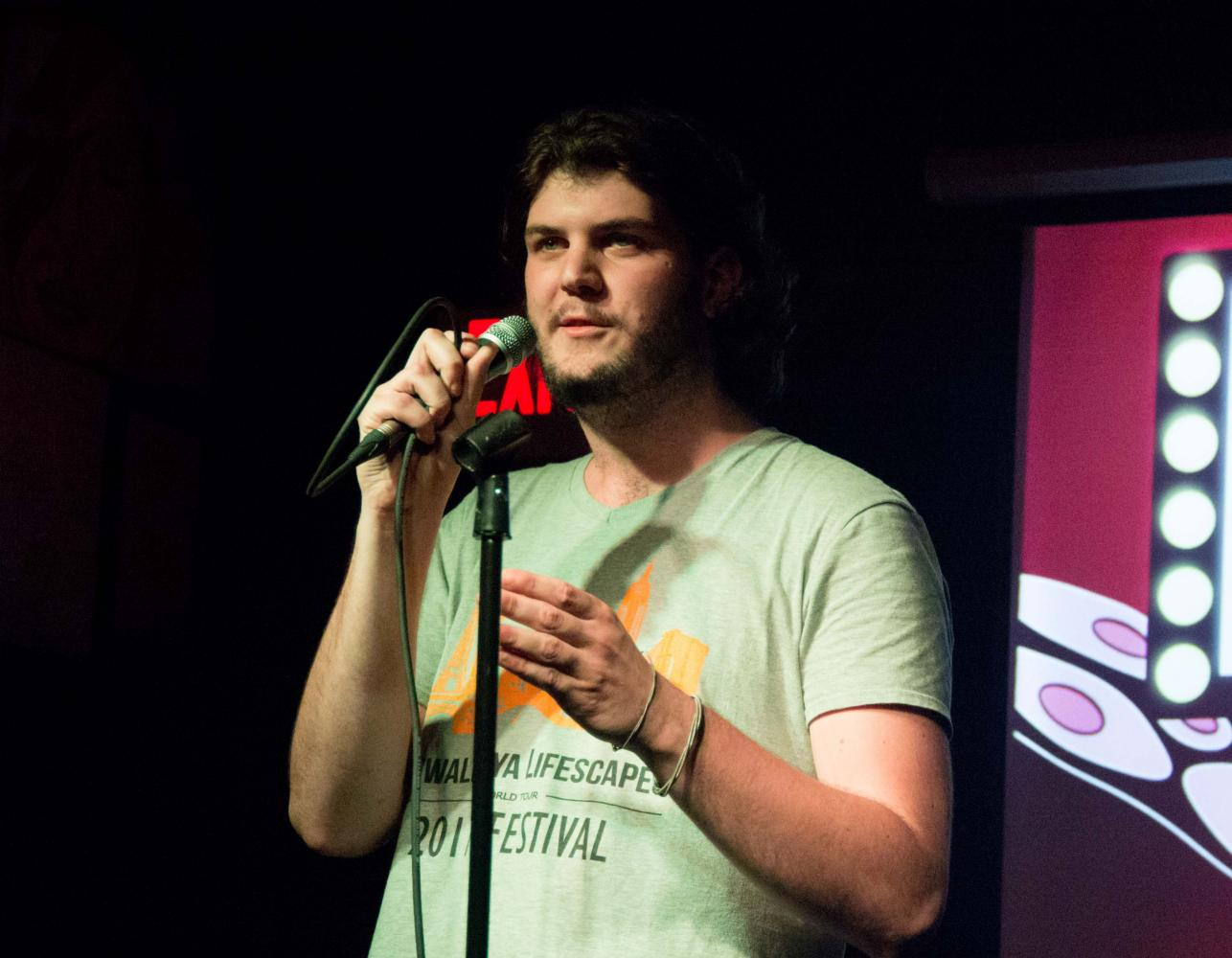 Senior jazz studies major Clayton Ryan was one of two UNI students who performed stand-up at Octopus Comedy Night this past Wednesday at the Octopus on College Hill.