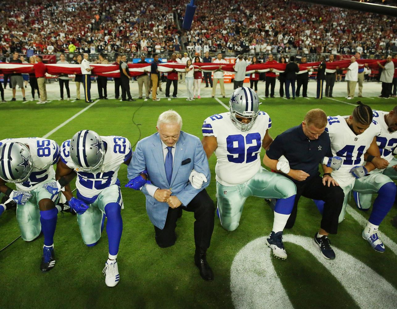 The Dallas Cowboy's took a knee during the national anthem before their game against the Arizona Cardinals.