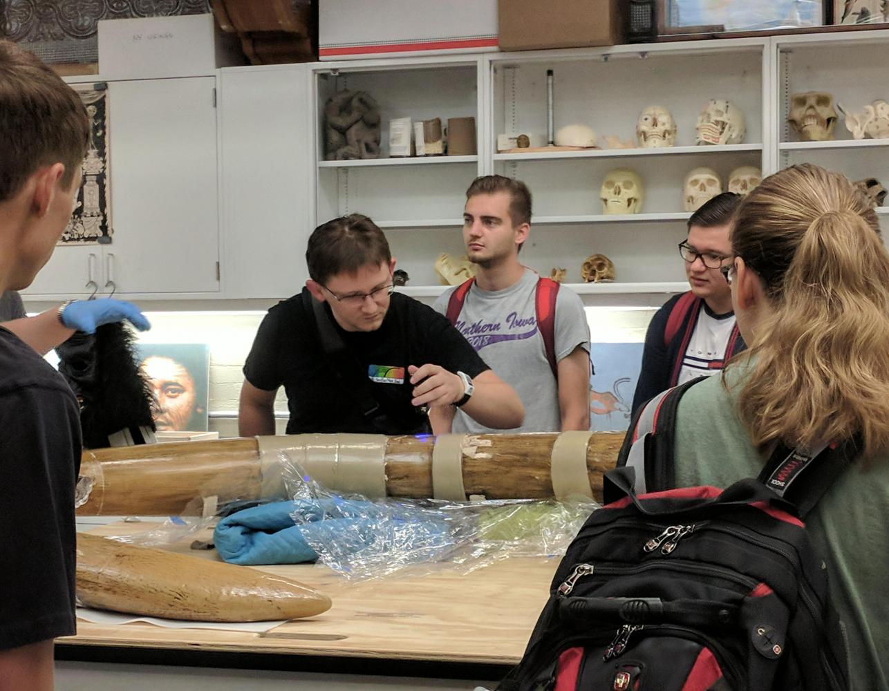 Some UNI students have acquired the opportunity to examine the mastodon tusk first-hand, thanks to a recently received grant. The tusk has been in possession of the UNI Museum for almost 100 years.