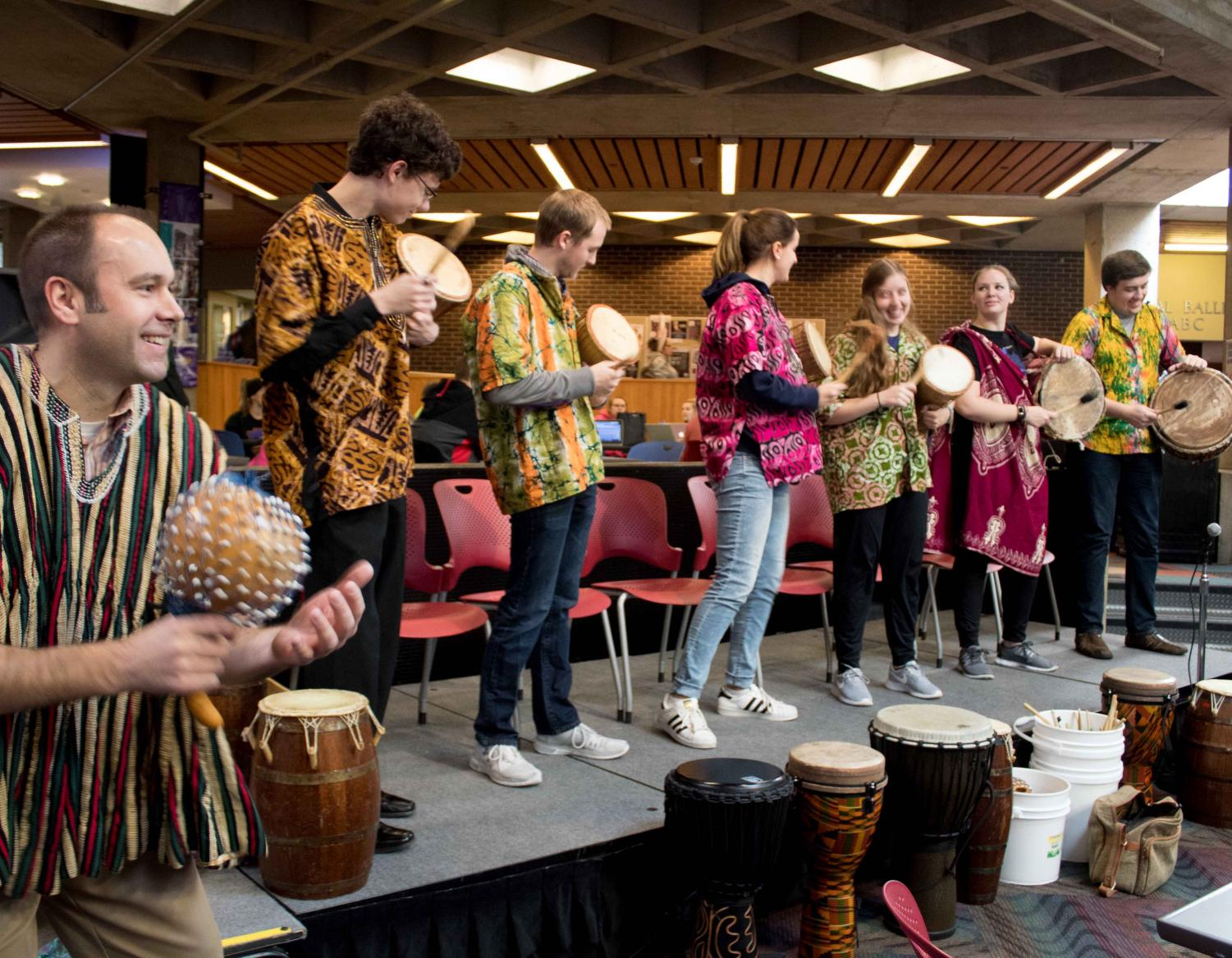 UNI's West African Drum Ensemble performed in Maucker Union this week.
