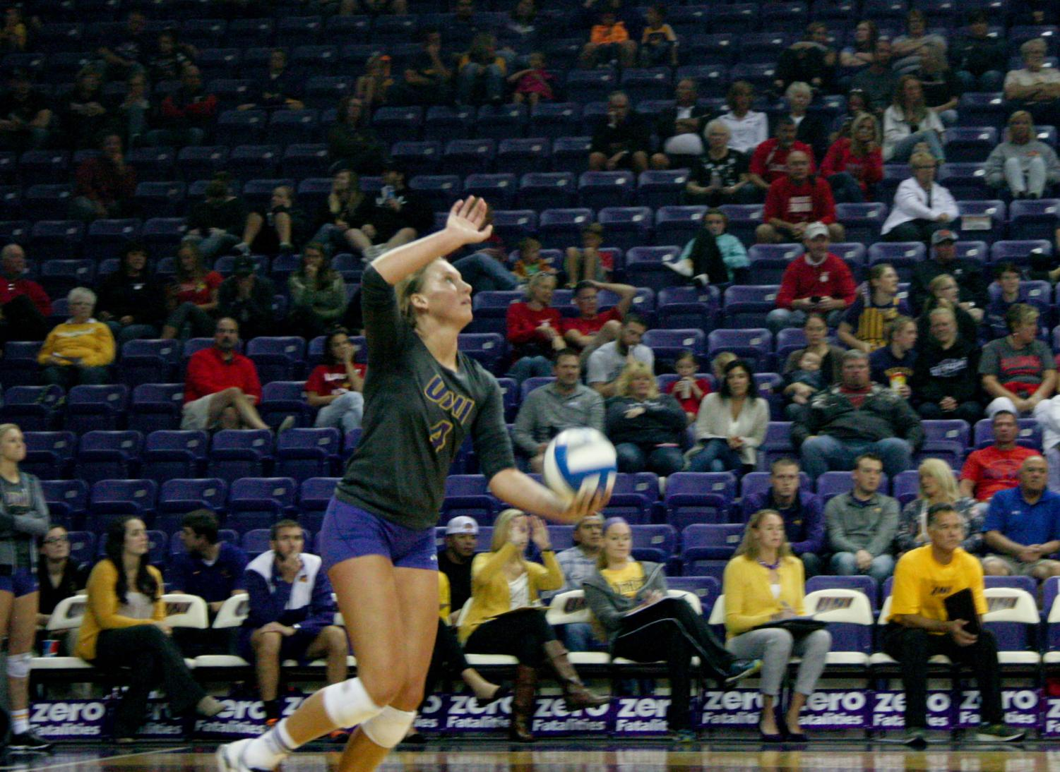 Bri Weber, No. 4, earned 13 points at the game against Southern Illinois. Weber is an outside hitter and has started in 31 matches during this current season.