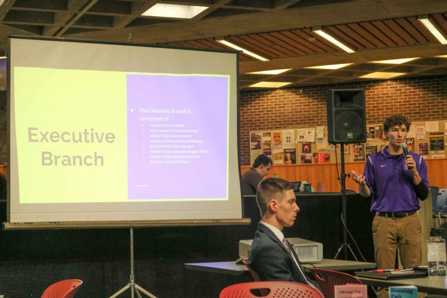 Tristan Bernhard, NISG vice president, and Hunter Flesch, NISG chief of staff, presented a PowerPoint presentation explaining some key aspects of Northern Iowa Student Government.