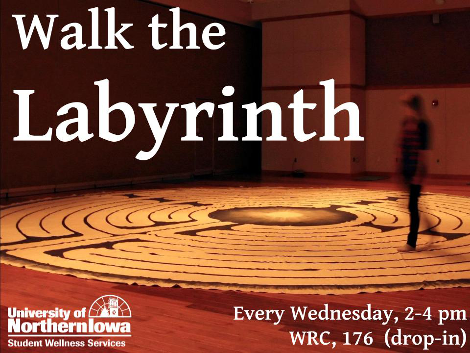Student Wellness Services pens a guest column explaining the benefits of walking the labyrinth in the Wellness/Recreation Center (WRC).