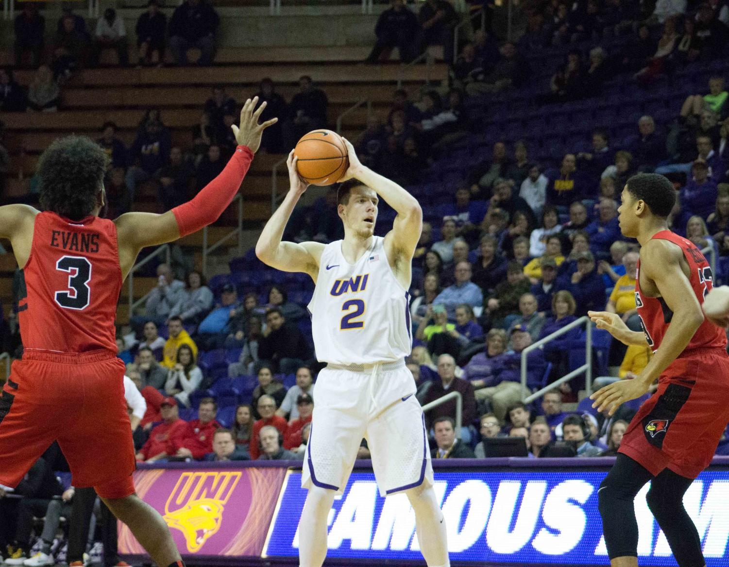 Klint Carlson (2) waits at the top of the arc looking for an open pass.