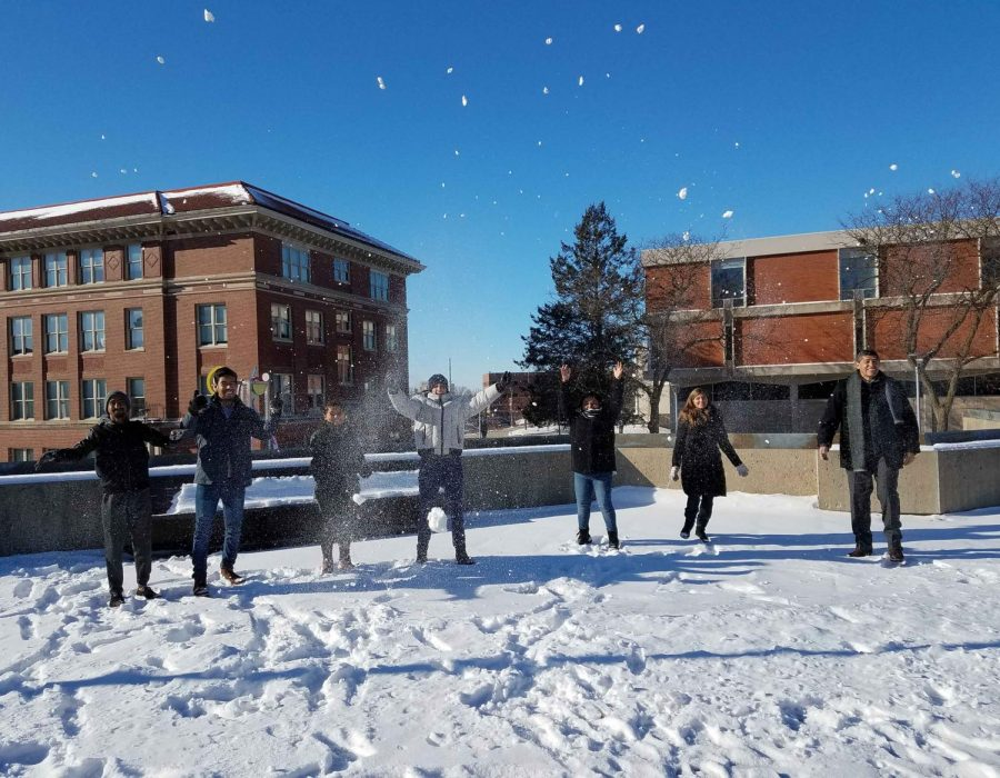 CIEP students having fun out in the snow on campus at UNI.