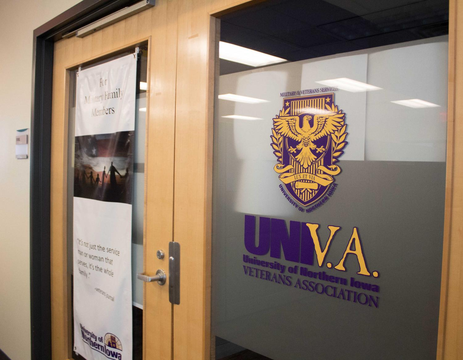 The UNI Veterans Association office is located on the plaza level of the Union and is open to any veterans or veterans family members.