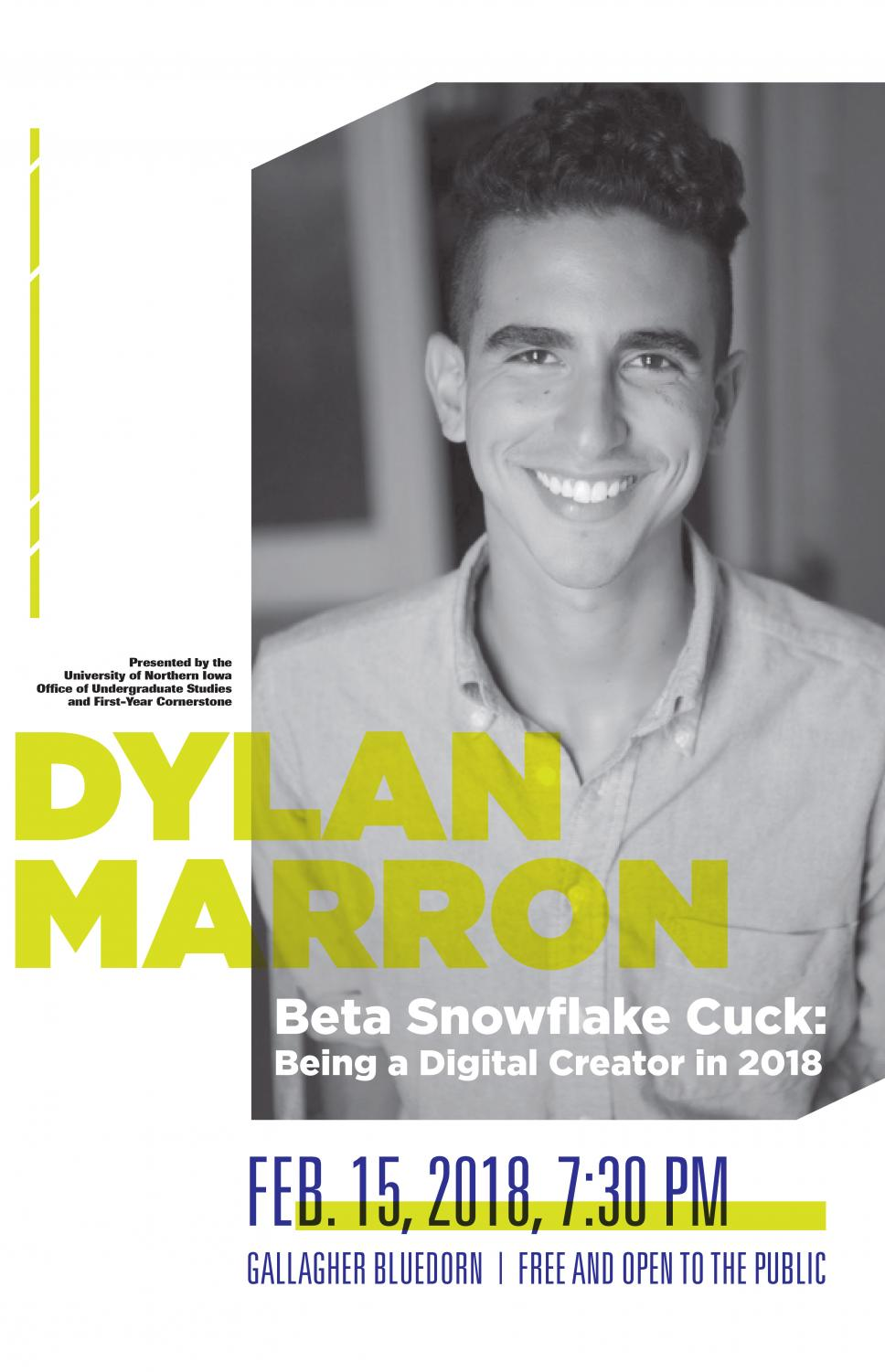 Dylan Marron, a videographer and writer, will be speaking at UNI on Feb. 15 on being a creator in 2018.