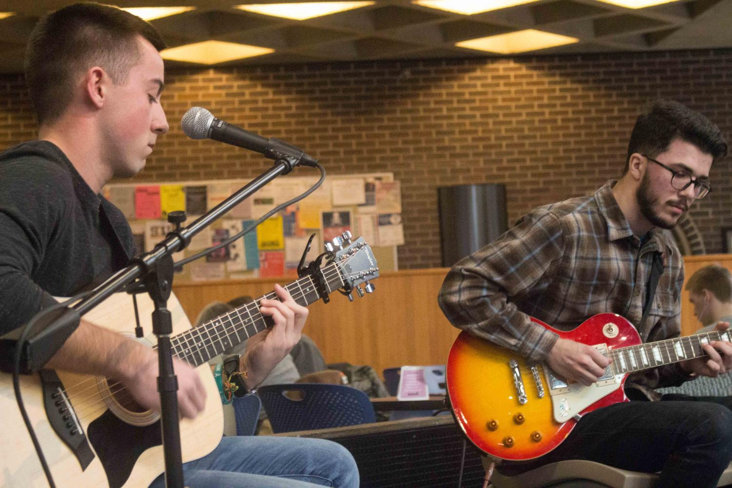 The Leather Jackets is a band started by UNI students Brandon Lynch (left) and Harry Schoening (right), who recently performed Maucker Union Live.