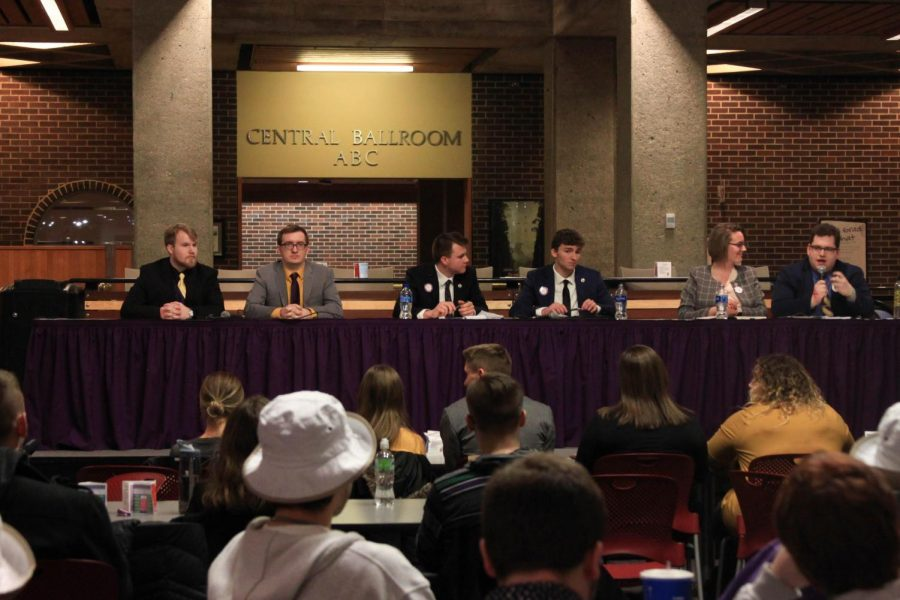 Vice presidential and presidential candidates Chad Schafer and Seán Dugan, Cole Malcolm and Tristan Bernhard and Kristen Ahart and Drew Stensland debate important issues at the NISG debate on Feb. 22.