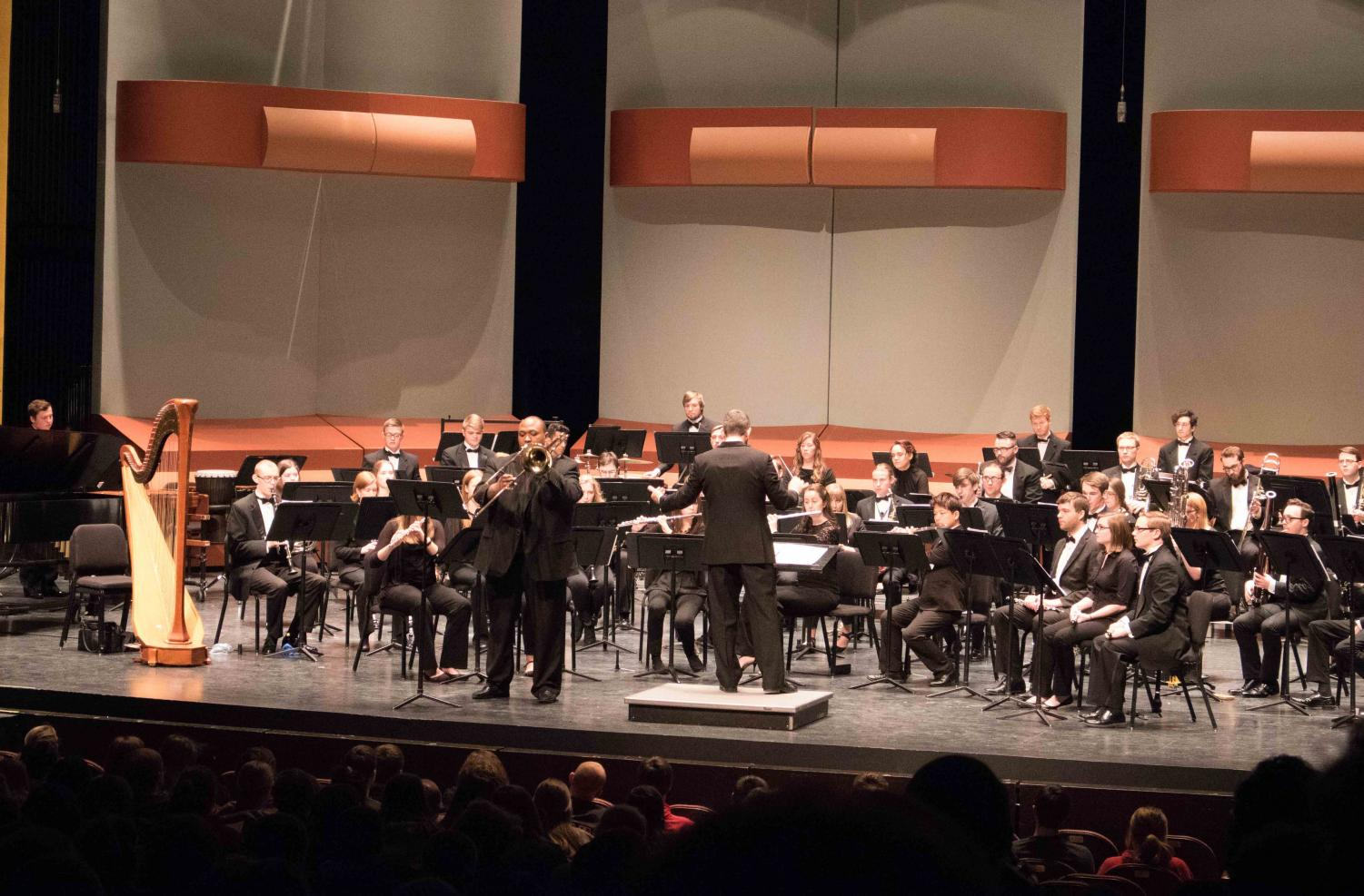 On Friday, Feb 9, the Northern Iowa Win Ensemble and UNI Symphonic Band performed at the GBPAC.