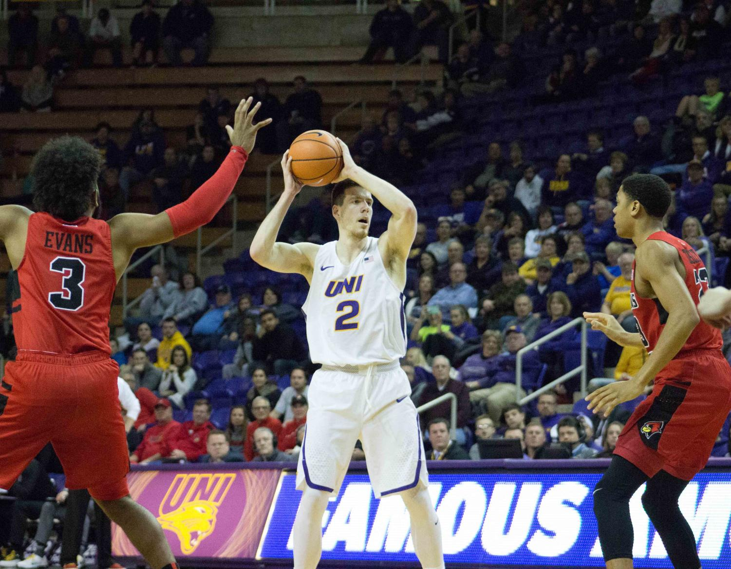 UNI won one game before losing their second in the Missouri Valley Conference Tournament this past weekend. Klint Carlson (2) scored nine points in the first game.
