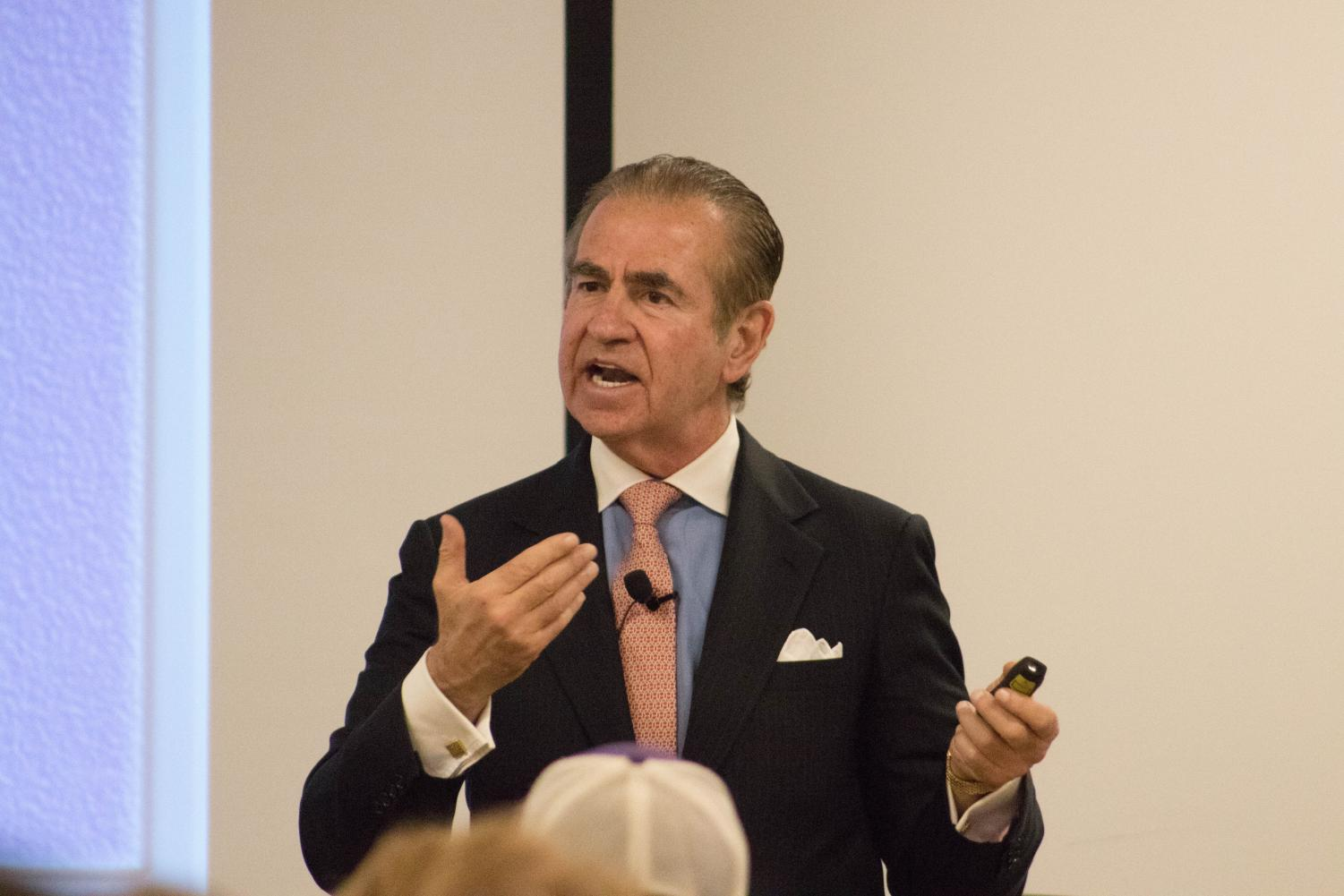 Public relations professional Fraser Seitel visited UNI this Tuesday to talk about PR in the era of nationalism.