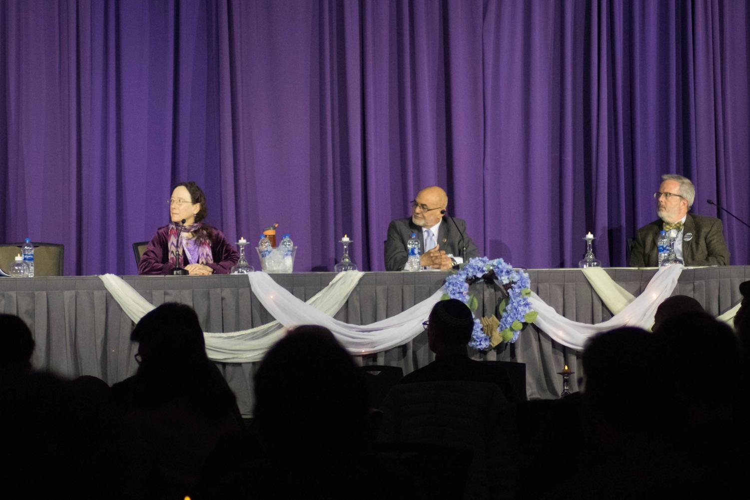 Rabbi Rebecca Kushner, Imam Mohammed F. Fahmy and Reverend David Glenn-Burns spoke on the MSU interfaith panel.