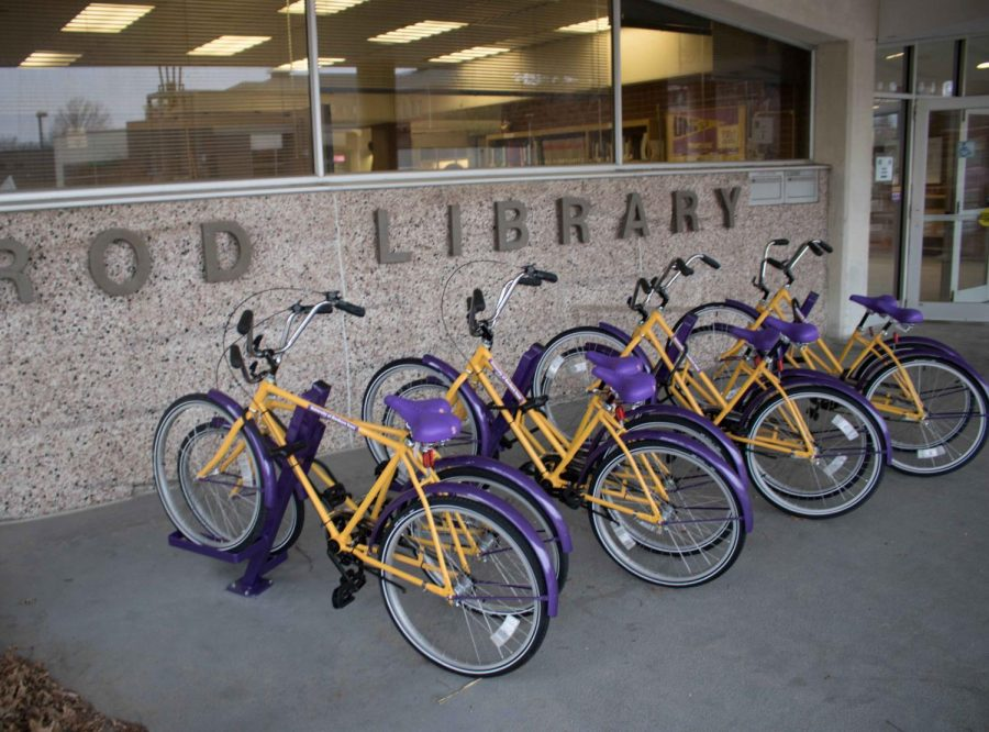 UNI+will+soon+be+expanding+their+bike-share+program.+Bikes+are+located+in+front+of+Rod+Library.
