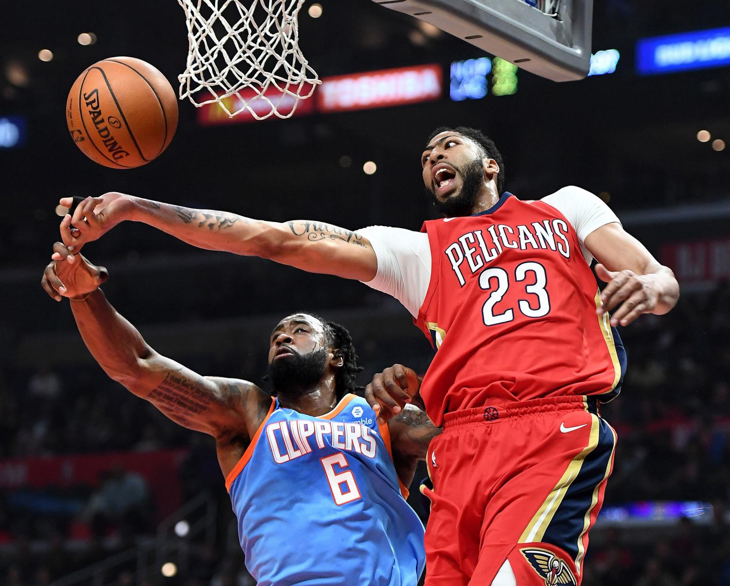 Pelicans forward Anthony Davis (23) blocking Los Angeles Clippers center DeAndre Jordan's (6) shot in their April 9 game at the Staples Center.