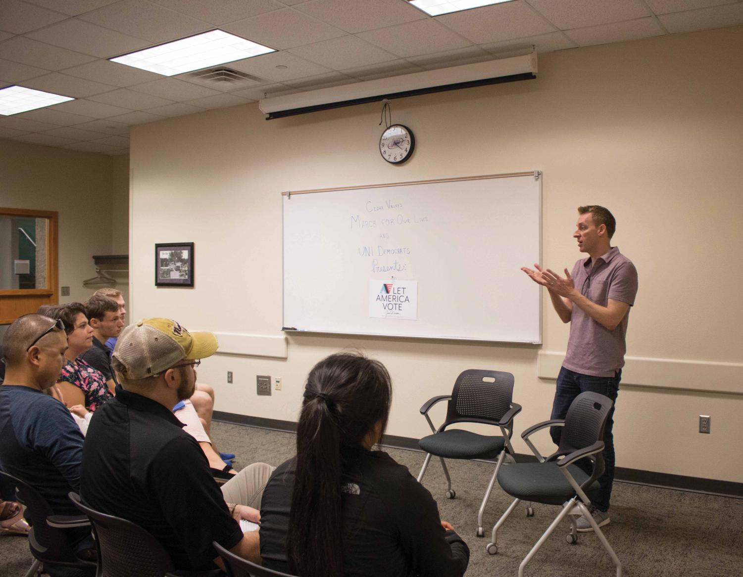 Democratic figure Jason Kander visited UNI to encourage young people to vote.