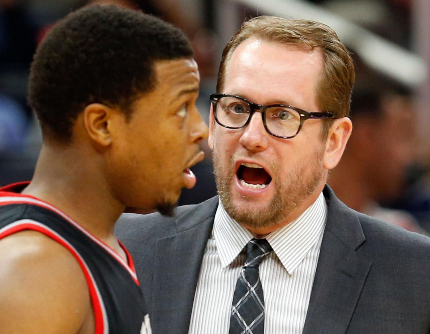 Nick Nurse (right) was hired as the ninth head coach of the NBA's Toronto Raptors on June 14, 2018. He graduated from UNI in 1989.