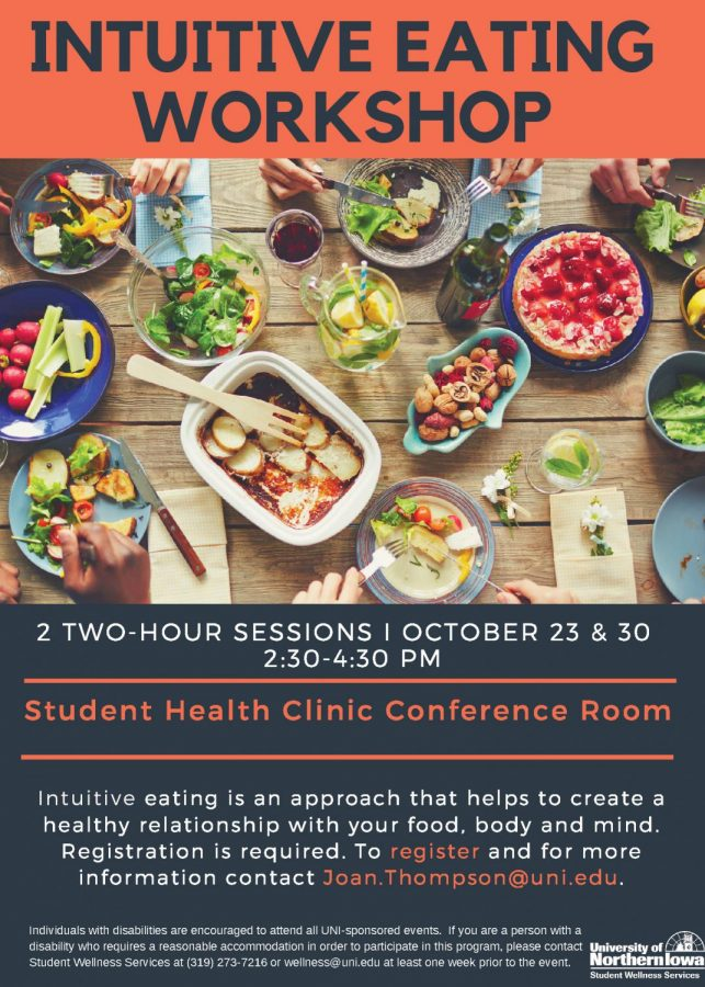 UNI%27s+Student+Health+Clinic+will+host+two+intuitive+eating+workshops+on+Oct.+23+and+30.