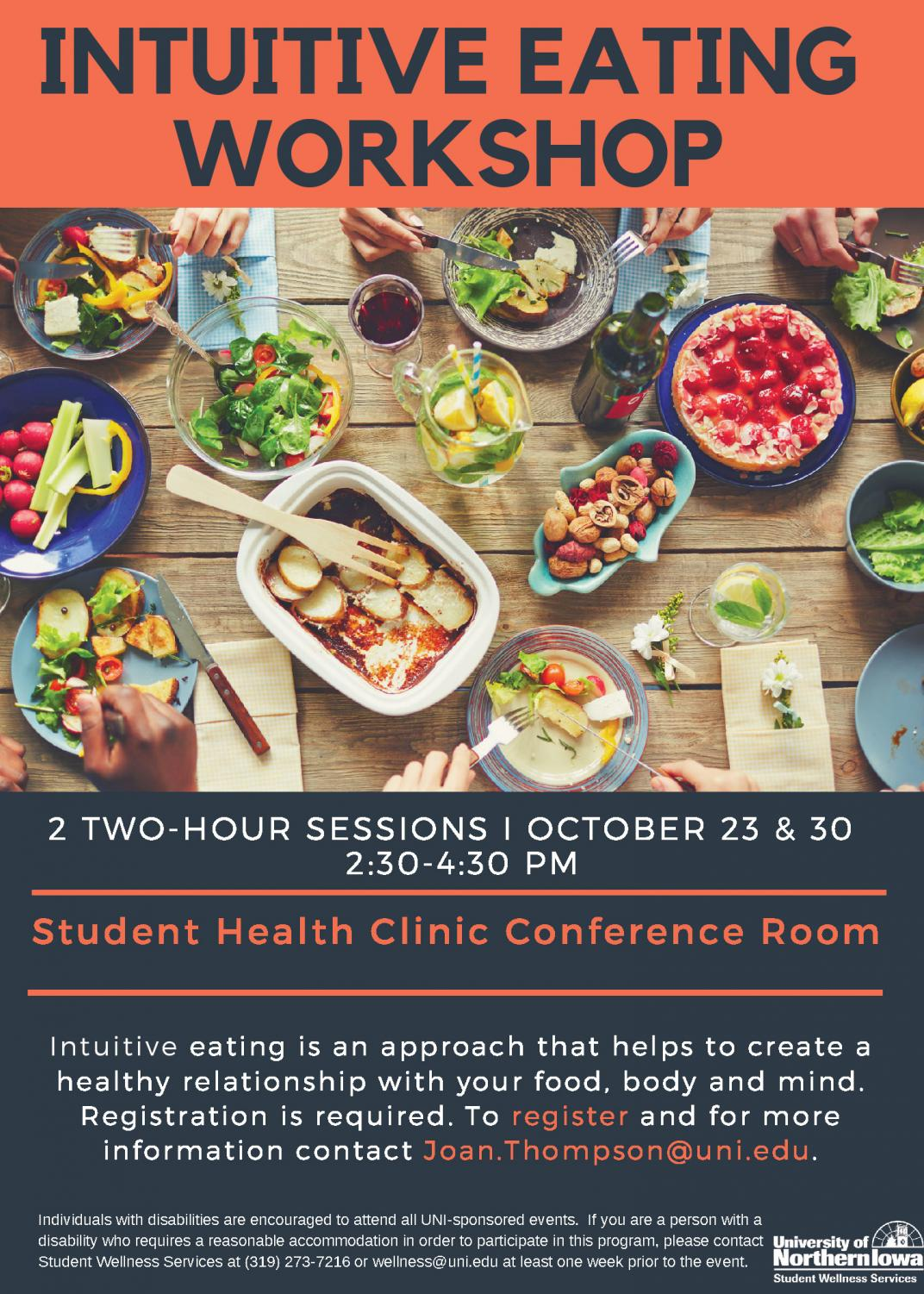 UNI's Student Health Clinic will host two intuitive eating workshops on Oct. 23 and 30.