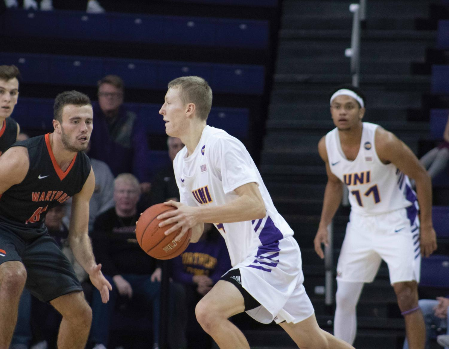 A.J. Green (above) scored 16 points in his collegiate debut against the Wartburg Knights in UNI's 110-69 exhibition win on Oct. 28.