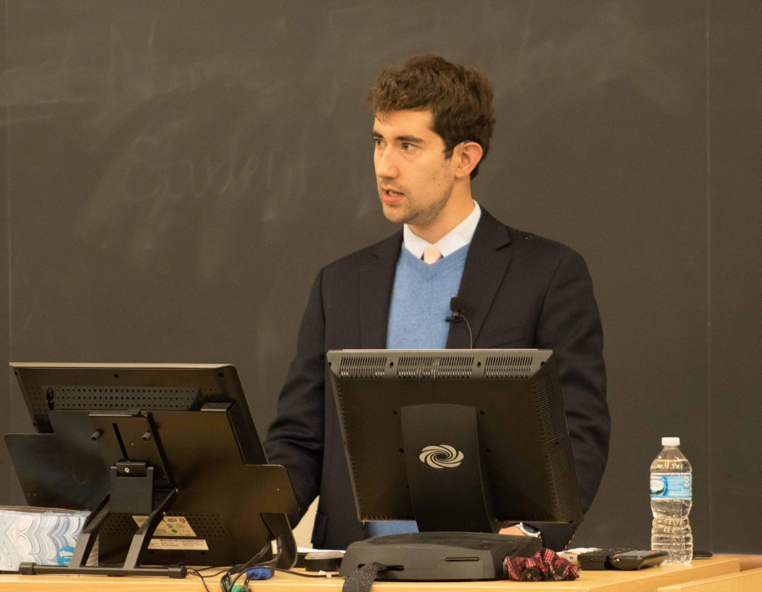 Eric Schmalz, community manager for the History Unfolded project at the United States Holocaust Museum visited to give a speech on anti-semitism.