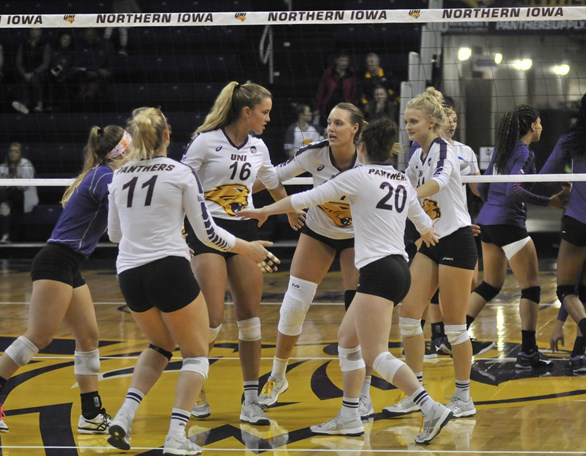 With four matches remaining before the conference tournament, UNI (19-8) has fallen behind Illinois State in the Missouri Valley Conference standings by one half game.