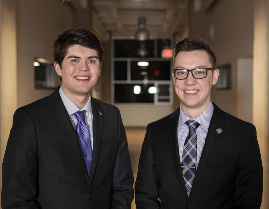 Jacob+Levang+%28pictured+left%29+and+Jacob+Stites+%28right%29+announced+their+candidacy+for+student+body+president+and+vice+president+on+Monday%2C+Feb.+11%2C+2019.+Elections+will+take+place+on+Feb.+26+and+Feb.+27.