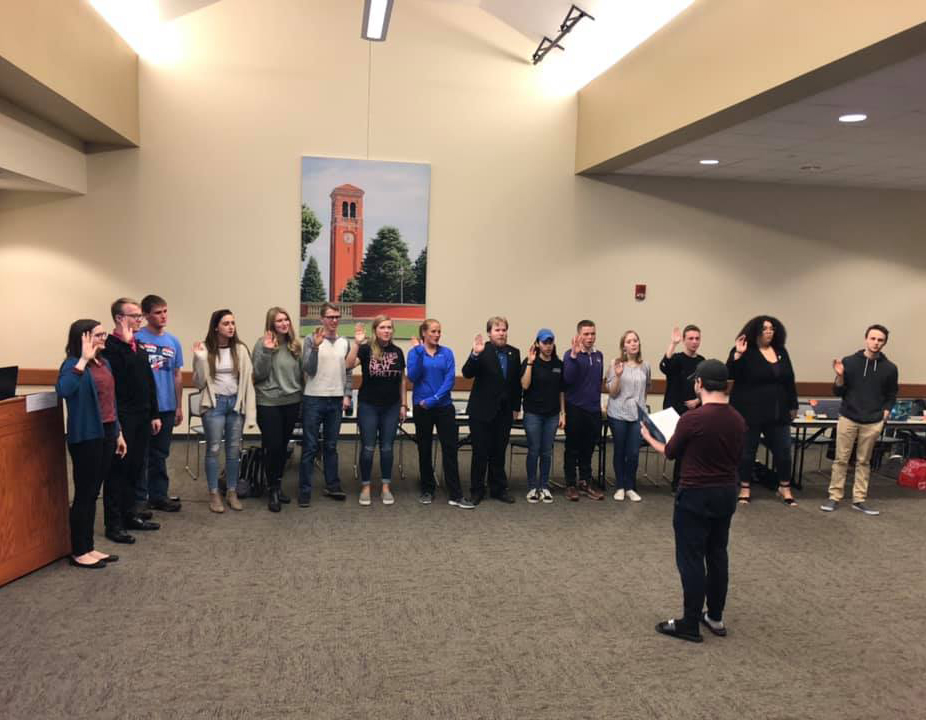 The new Upper Cabinet members of Northern Iowa Student Government were officially sworn into their positions on Wednesday, April 10. The new members began work in their individual roles on Monday, April 15.