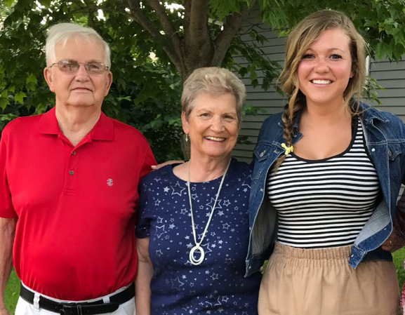 Katie Wempen, pictured with her grandparents, Richard and Rita Wempen, is a third-generation UNI education student.
