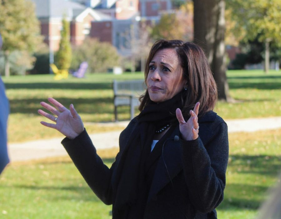 Kamala+Harris+addresses+students+during+a+campus+visit+in+October+of+2018.+The+California+senator+and+2020+presidential+candidate+will+return+to+UNI+on+Friday%2C+Sept.+20.