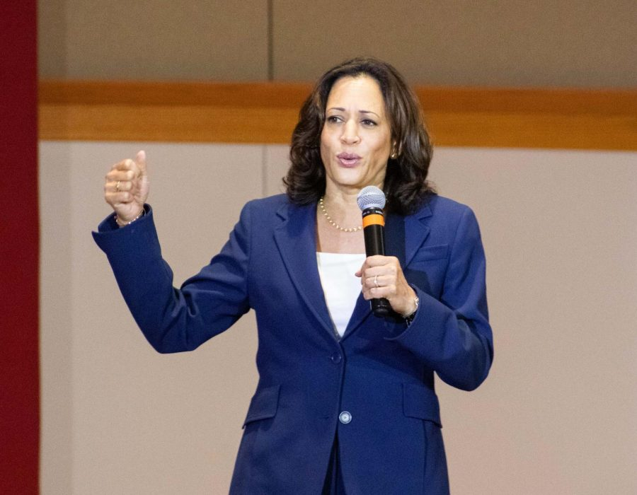 2020 Democratic presidential candidate Senator Kamala Harris (D-Ca.) addressed students during a visit to UNI on Friday, Sept. 20.