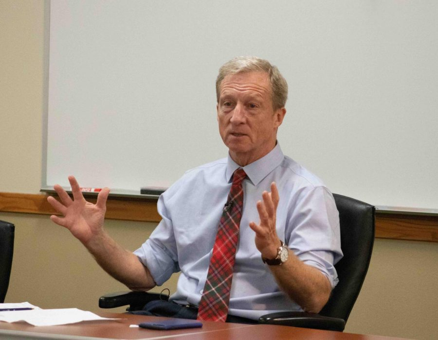 Presidential+candidate+Tom+Steyer+spoke+with+UNI+students+and+Cedar+Valley+community+member+in+Maucker+Union+on+Monday.