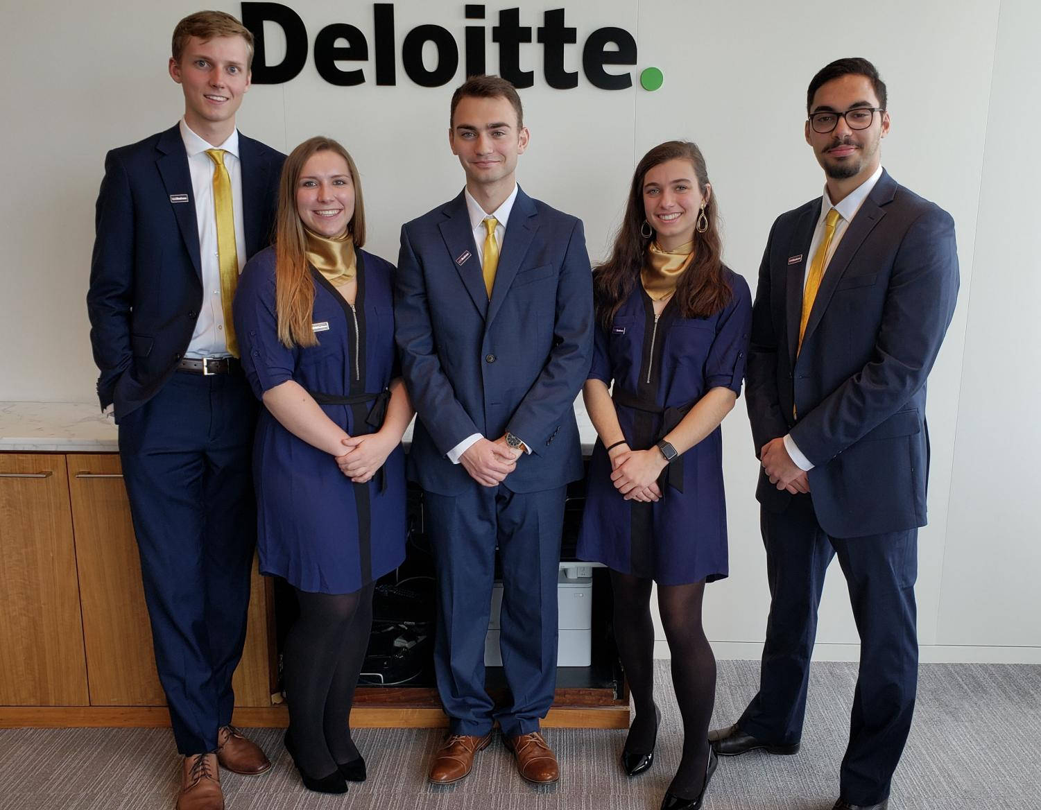 UNIBusiness students Carson Ehrenberg (from left), Cassidy Pearson, Nathan Funke, Jacqueline Hicks and Al Faisal Yasin will compete at the national level of the Deloitte National FanTAXtic Competition in January.